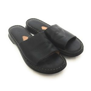 Born Black Leather Slide Sandals Size 11